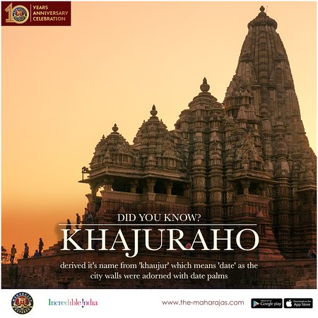 #DidYouKnow Khajuraho derived its name from the Hindi word 'khaujur' which means 'date' as the city walls were adorned with date palms. To explore the exquisite architectures and stunning sculptures, visit www.the-maharajas.com. #TheMaharajasExpress #IncredibleIndia #luxurytrain #luxurytravel #royalityonboard #indianrailway #travel #tourism #travelindia #indiatravel #royalityontrain