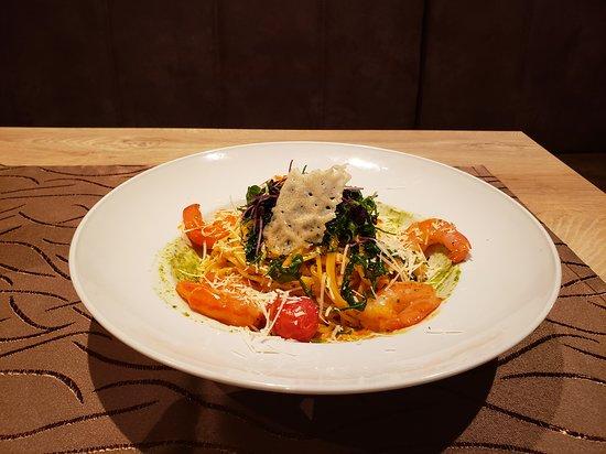 Restaurant Hof von Holland: Spaghetti, Tomate, Garnelen, Parmesan