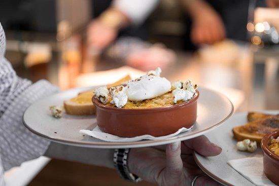 Our baked parmesan creamed corn (GF) served with a poached egg on GF toast or sourdough.  The chefs for added taste & fun serve it with popcorn sprinkled in lemon myrtle...delicious!