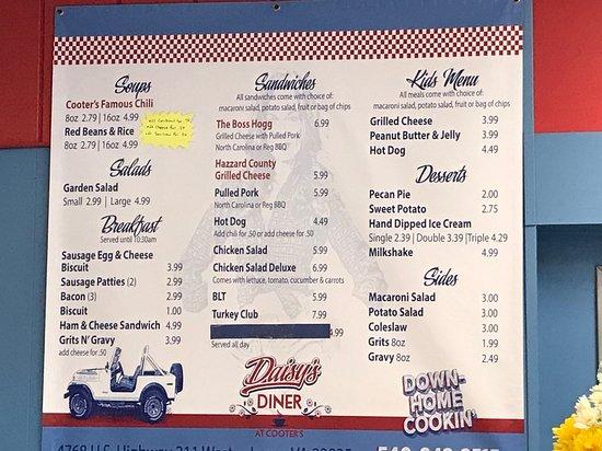 Menu on wall at Daisy's Diner at Cooter's Luray
