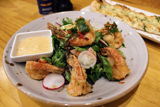Errol's Cafe: Fried Prawns (GF*) Tossed with lime chilli & olive oil, served with wild rocket salad
