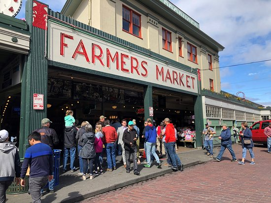 Food and Cultural Walking Tour of Pike Place Market: Farmers Market entrance