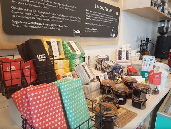 Love Brownies Cafe: All our products are sourced in Yorkshire using mostly organic ingredients. Our award winning brownies are all gluten free and we have also a vegan range. Simply delicious!!!