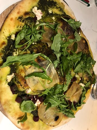 This pizza was awesome!! Argula, beets and goat cheese!!