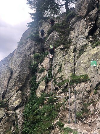 The TMB is 11 Stages in three countries covering 105 miles.  This picture is of ladders that are located on the trail between Argentiere and Planpraz