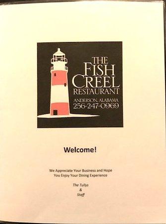 Anderson, AL: Fish Creel Menu cover page