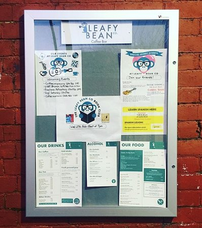 Leafy Bean events board on Bowes Park Station bridge