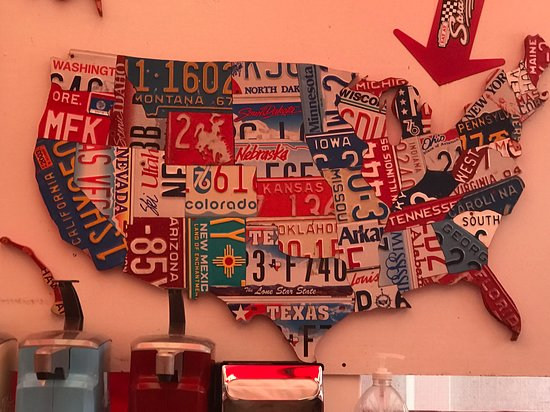 Map of the U.S. made from license plates cut to the shape of ... Map Made Of License Plates on map white on white art, map made of buttons, map of united states license, map made of tools, map made of paper, map made of flowers, map wall decor metal art, map made of books,