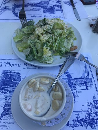 Everything was just right. Caesar salad ....awesome Clam chowder...heaven 2lb steamed whole lobster....priceless If your in the mood for a beautiful marina view, beautiful establishment, friendly attentive service, smiles all around . This should be your next stop if you have not yet enjoyed. Can it get any better than this on Cape Cod? Great experience!
