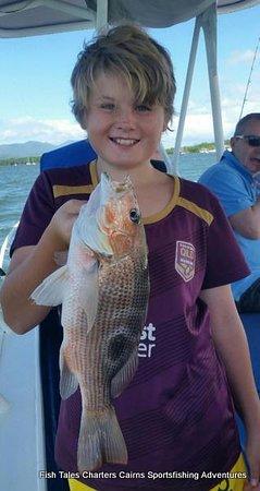 Cairns, Australia: 22nd April 2019 John and his fingermark while estuary fishing.