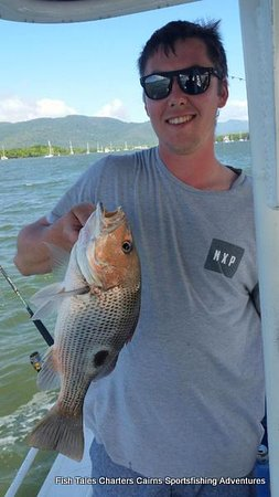 Cairns, Australia: 22nd April 2019 Mitch and his fingermark while estuary fishing.
