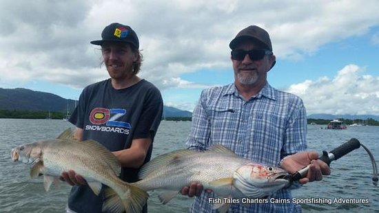 Cairns, Australia: 24th April 2019 Jeff and Tim and their Black jewfish