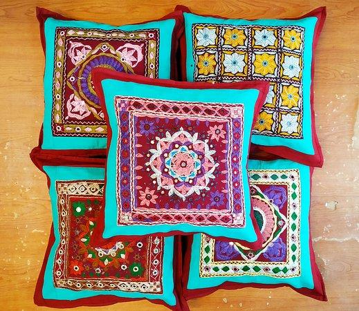 Pita Shree Handicraft : Hand Embroidered mirror work cushion covers