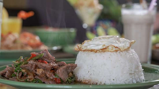 Basil Beef with Rice and Egg