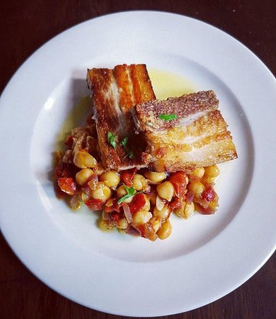 Braised Pork Belly With chickpea Salad :)