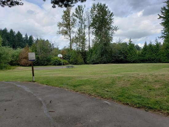 Boulevard Lane Park : Grassy open area and basketball court area
