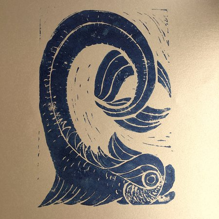 Renaissance Dolphin: print from my third Lino cutting workshop with Adie Blundell at the Herbert Art Gallery & Museum, Coventry in July 2019. Daler-Rowney oil paint + medium on gold paper.