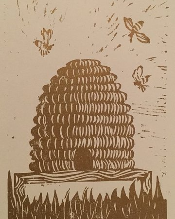 Beehive: print from my first Lino cutting workshop with Adie Blundell at the Herbert Art Gallery & Museum, Coventry in July 2018. Lawrence printers ink on paper.