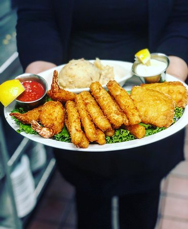 Fish and chips with mashed potatoes