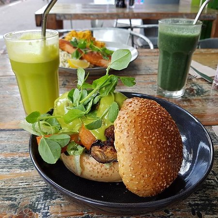 Pure Wholefoods: Featured: Falafel Burger w/ Cold Press Juice  Its burger time, we also have a range of vegan burgers, side them up with one of our freshly cold pressed juices.