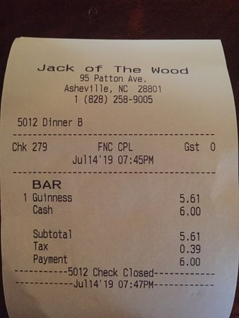 Jack of the Wood: Pint of Guinness