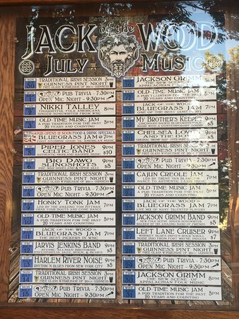 Music schedule posted outside