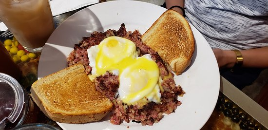 Corned beef hash had perfectly poached runny eggs