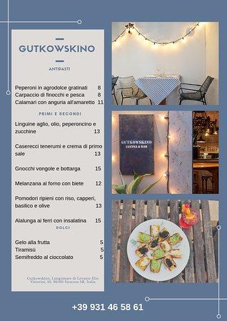 Gutkowskino. Cucina & Bar: Menu dal 15 al 20 luglio