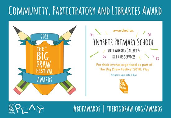 We're very proud to have received recognition for our Big Draw workshop with our local school -Ynyshir Primary School (funded by RCT Council).