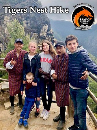 Bhutan: Hiking to Tigers nest with Russian guest family. Guide Mr Sangay and Driver Mr Nima