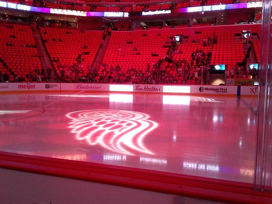 Little Caesars Arena: Our front row seats along ice