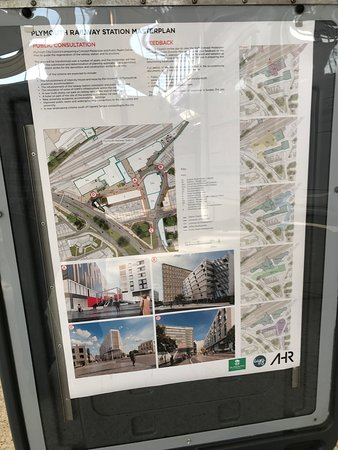 Plymouth Railway Station: Plans for major changes at Plymouth Station as disclosed on concourse during public consultation.