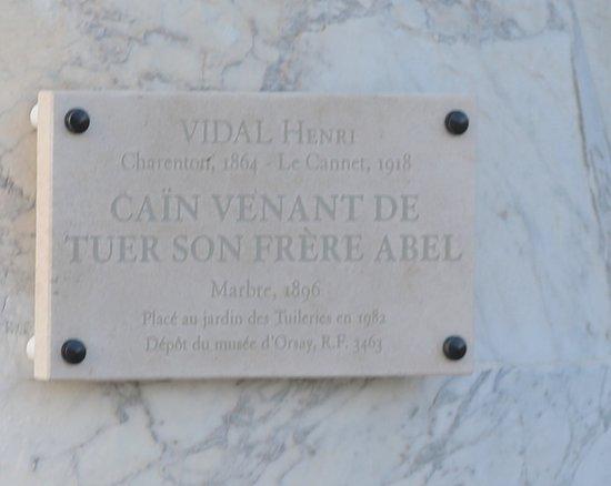 Statue Cain Venant de Tuer son Frère: La plaque