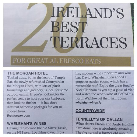 Our terrace getting honourable mention from Lucinda O'Sullivan in the Sunday Independent July 2019.