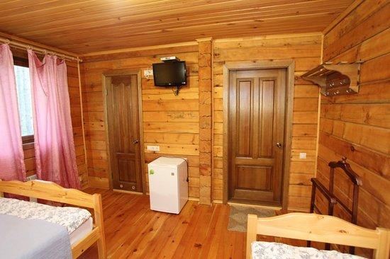 Ust-Sema, روسيا: Благоустроенные,отдельностоящий,кедровые дома.Оснащены: двуспальная и односпальная кровать,туалет,душ,холодильник,телевизор