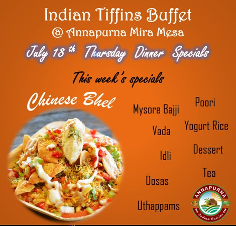 Indian Bhel meets Chinese Noodles....  Curious How?  Try it out on our Thursday Dinner Buffet along with all our other Tiffin Specials like Dosas, Idli, Wada, Uthappam, Poori, etc....  See you all for Dinner.