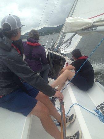 Хадсон-Ривер-Вэлли, Нью-Йорк: Learning reefing at ASA 101 Basic keelboat Sailing