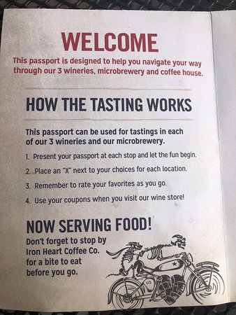 $20 tasting passport that allows you to sample in all three wineries and the microbrewery.