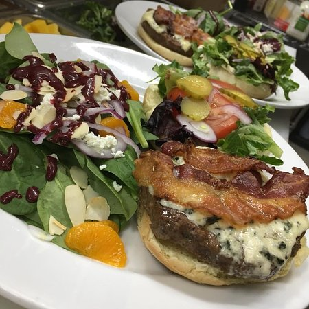 Our Tin Dog Burger with the spinach salad.