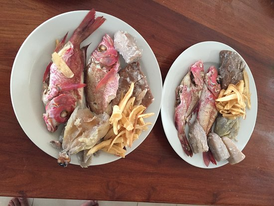 Fried fish and Banana chips. Traditional dish. Tuvalu