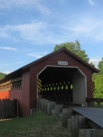 North Bennington, VT: Paper Mill Covered Bridge is a challenging bridge to photograph, but signs make it easy to find.