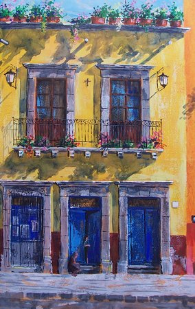 Mexican street, painting by Cristiana Mar