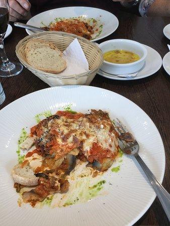 eggplant parmigiana and sea bass