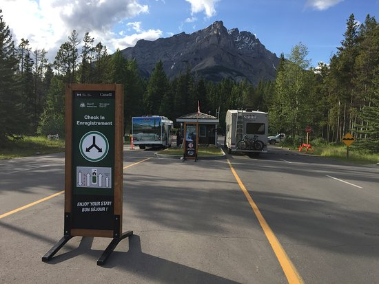 Tunnel Mountain Trailer Court Campground: Entrance kiosk, Tunnel Mountain Trailer Court and Tunnel Mountain Village 2, July 2019
