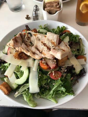big salad and grilled chicken
