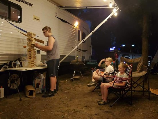 Pardeeville, WI: A friendly game of Jenga with the kids at Duck Creek Campground.