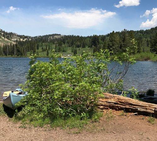 North Logan, Utah: Canoe at the water's edge.