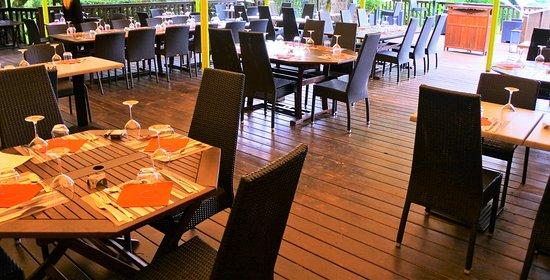Hotel Ma Campagne: Bar en terrasse, en bord de Saône