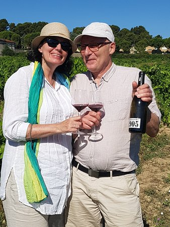 Laure-Minervois, Francja: Tasting Wine from a Vineyard planted in 1905.