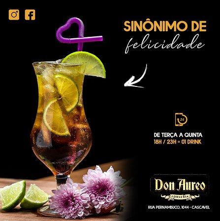 A promoção Postou, Ganhou é válida de terça a quinta para todo o mês de julho! Corra e aproveite🍹🍸 Poste stories no Instagram / Facebook e marque @donaureoforneria  18h / 23h = 01 drink ✅ Validar no caixa - 📍 Rua Pernambuco, 1044 - Cascavel. - ☎ Reservas (45) 3039-3334.